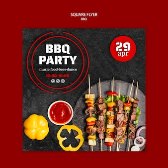 Sjabloon folder met bbq-thema