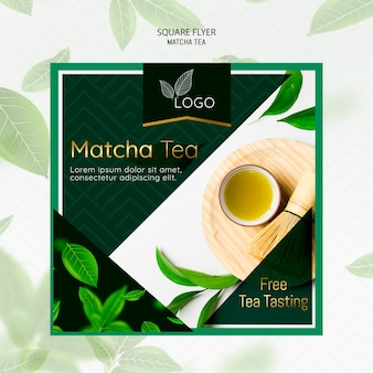 Sjabloon folder met matcha thee