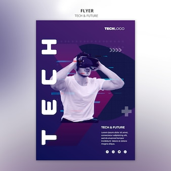 Sjabloon folder met technologie concept