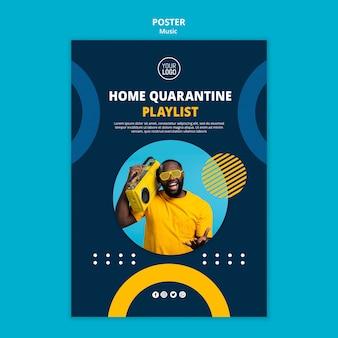 Sjabloon folder om te genieten van muziek tijdens quarantaine