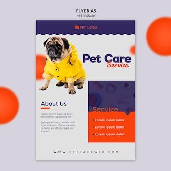 Sjabloon folder voor dierenverzorging met hond