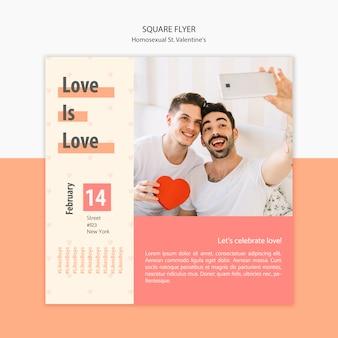 Sjabloon folder voor homoseksuele st. valentijnsdag met foto
