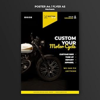 Sjabloon folder voor motorfiets reparatiewerkplaats