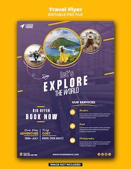 Sjabloon folder voor reisverkoop Premium Psd