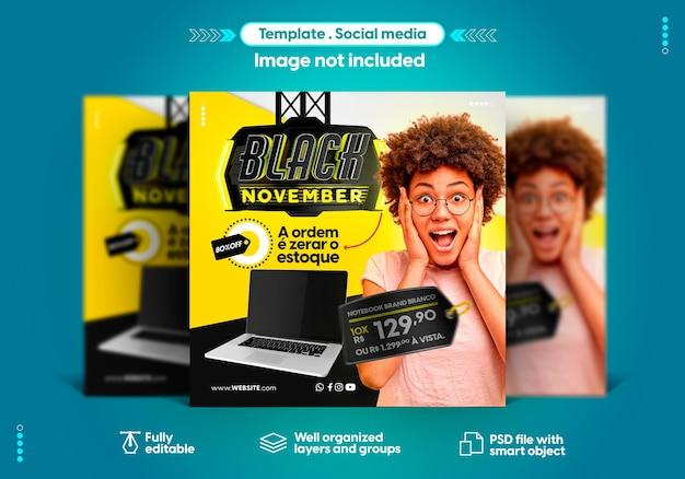 Sjabloon in portugese sociale media instagram zwarte november biedt verkoop en productpromotie