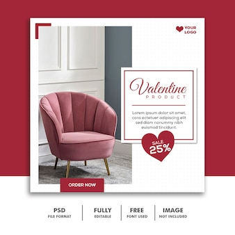 Sjabloon instagram post valentine sofa