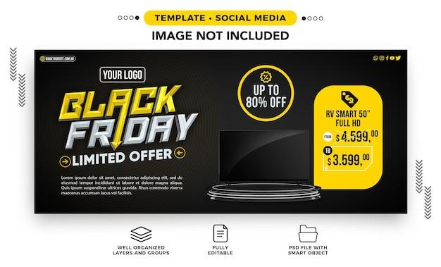 Sjabloon social media banner black friday beperkte aanbieding tot 80 korting