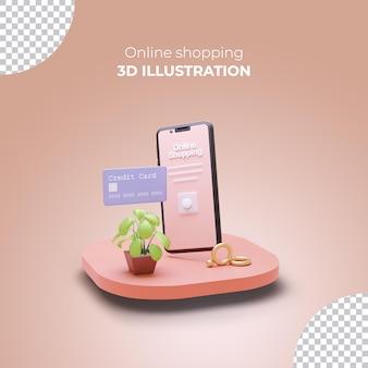 Sjabloon voor 3d-rendering verkoopbanner met 3d online winkelen op smartphone-apps