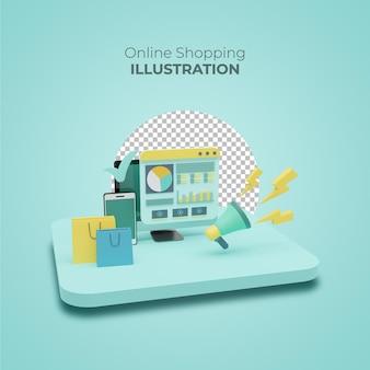 Sjabloon voor 3d-verkoopbanner met online winkelen op mobiele applicaties