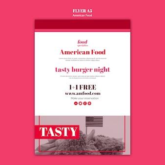 Sjabloon voor amerikaans eten-flyer