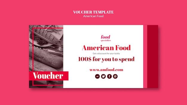 Sjabloon voor amerikaans eten voucher