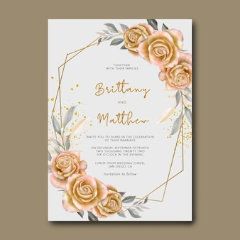 Sjabloon voor aquarel gele roos bloem uitnodigingskaart