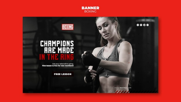 Sjabloon voor banneradvertenties voor boksen