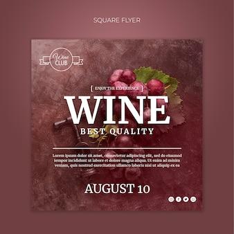 Sjabloon voor beste kwaliteit wijn vierkante flyer
