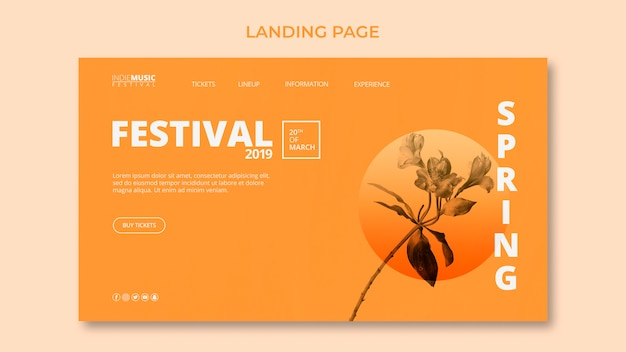 Sjabloon voor bestemmingspagina met lente festival concept