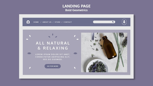 Sjabloon voor bestemmingspagina's van lavendelolie