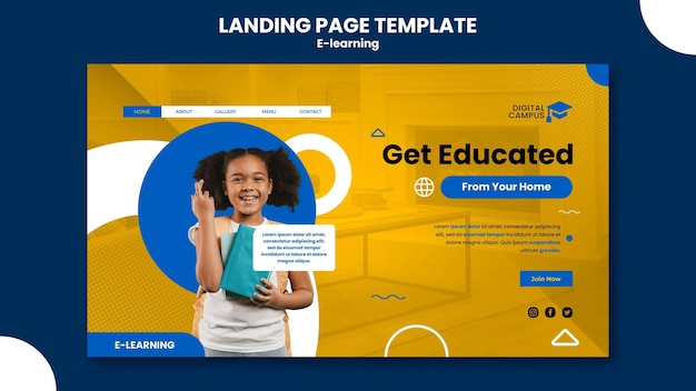 Sjabloon voor bestemmingspagina's voor e-learning