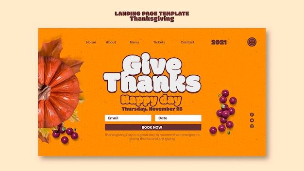 Sjabloon voor bestemmingspagina's voor gelukkige thanksgiving-dag