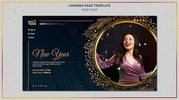 Sjabloon voor bestemmingspagina's voor het nieuwe jaar met gouden details