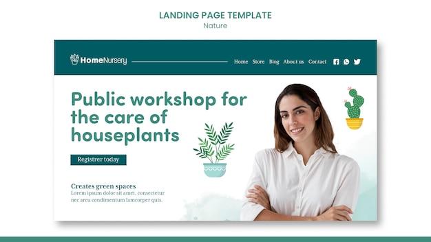 Sjabloon voor bestemmingspagina's voor kamerplantenverzorging met vrouw