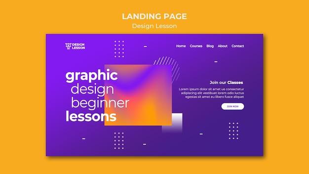 Sjabloon voor bestemmingspagina's voor lessen grafisch ontwerp