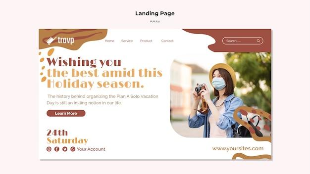 Sjabloon voor bestemmingspagina's voor vakantiereizen met persoon die een medisch masker draagt