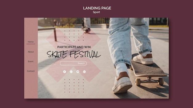 Sjabloon voor bestemmingspagina van skatefestival