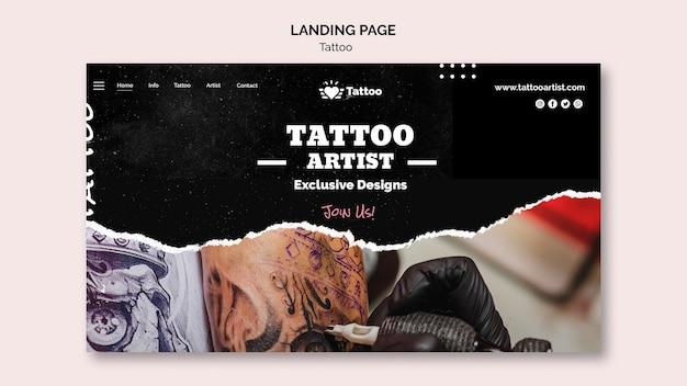 Sjabloon voor bestemmingspagina van tattoo-artiest