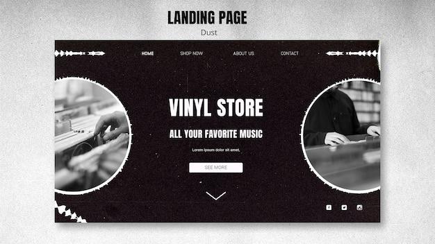 Sjabloon voor bestemmingspagina van vinylwinkel