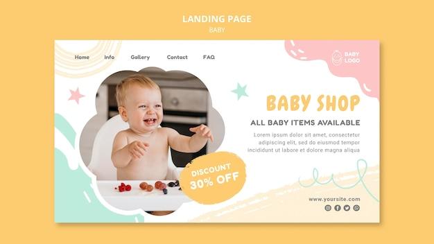 Sjabloon voor bestemmingspagina voor babywinkel