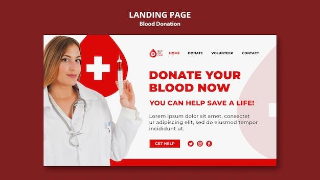 Sjabloon voor bestemmingspagina voor bloeddonatie