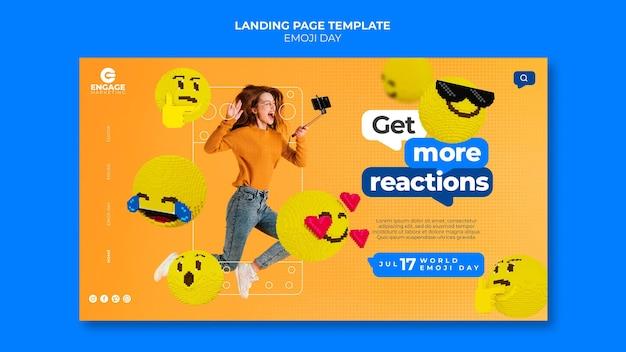 Sjabloon voor bestemmingspagina voor emoji-dag Gratis Psd