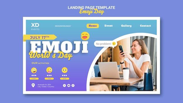 Sjabloon voor bestemmingspagina voor emoji-dag