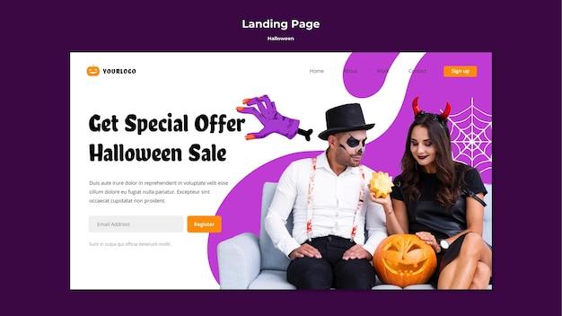 Sjabloon voor bestemmingspagina voor halloween-verkoop