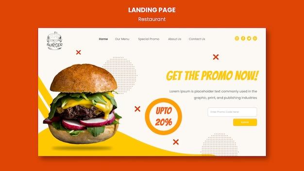Sjabloon voor bestemmingspagina voor hamburgerrestaurant