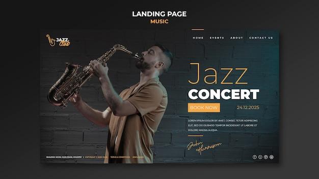 Sjabloon voor bestemmingspagina voor jazzconcerten