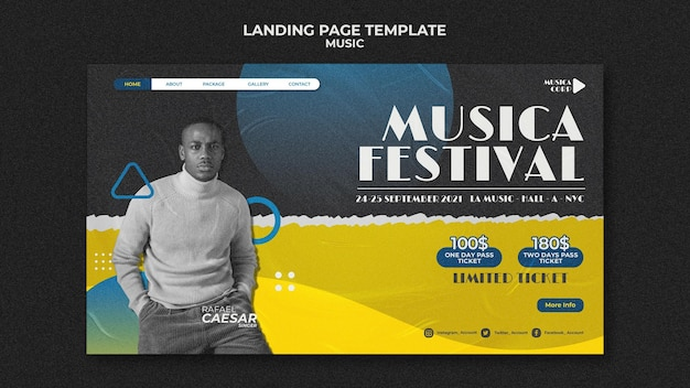 Sjabloon voor bestemmingspagina voor muziekfestival music