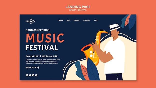 Sjabloon voor bestemmingspagina voor muziekfestival