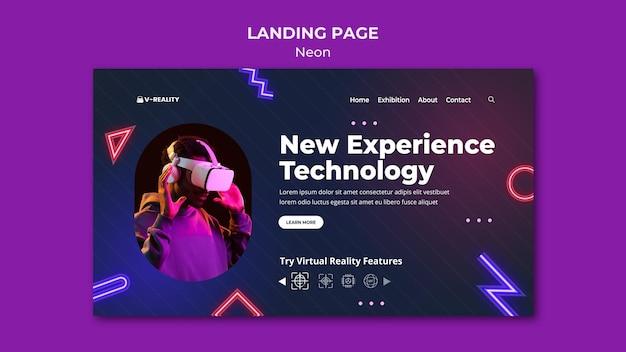Sjabloon voor bestemmingspagina voor neon virtual reality-bril