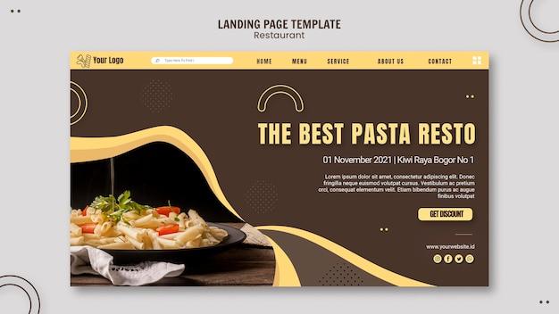Sjabloon voor bestemmingspagina voor pasta restaurant