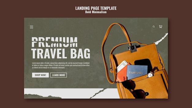 Sjabloon voor bestemmingspagina voor reistassen