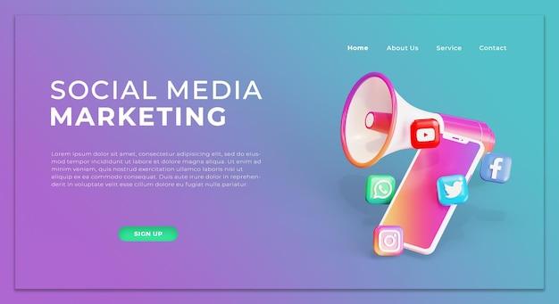 Sjabloon voor bestemmingspagina voor social media marketing met 3d-megafoon en pictogrammen