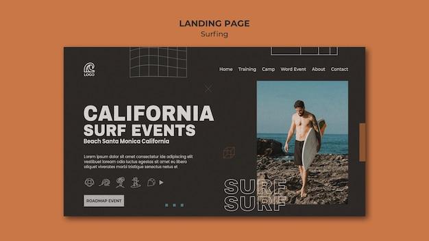 Sjabloon voor bestemmingspagina voor surfwedstrijden