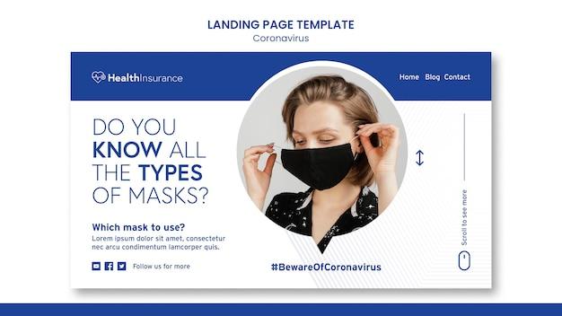 Sjabloon voor bestemmingspagina voor vrouw met masker