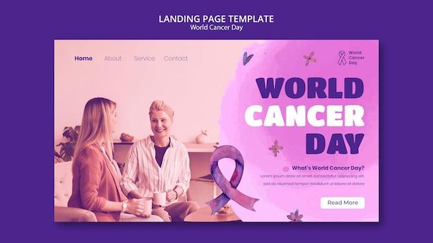 Sjabloon voor bestemmingspagina voor wereldkankerdag met lint