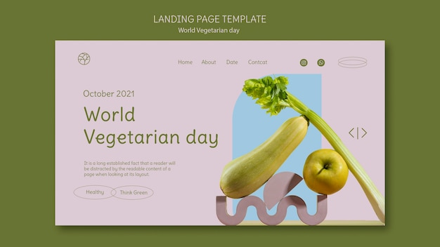 Sjabloon voor bestemmingspagina voor wereldvegetarische dag