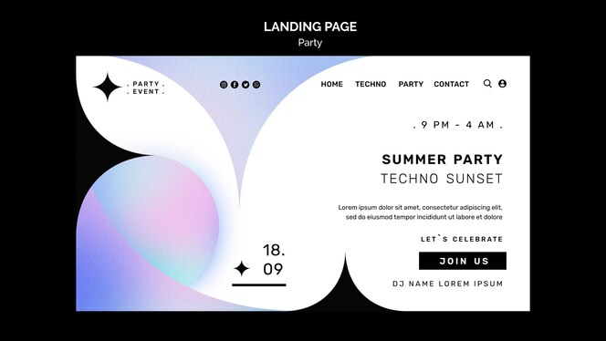 sjabloon voor bestemmingspagina voor zomerfeest summer