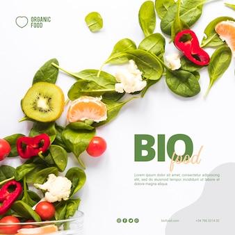Sjabloon voor biologische levensmiddelen vierkante spandoek