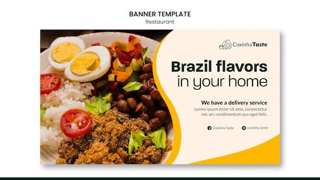 Sjabloon voor braziliaanse voedsel horizontale spandoek