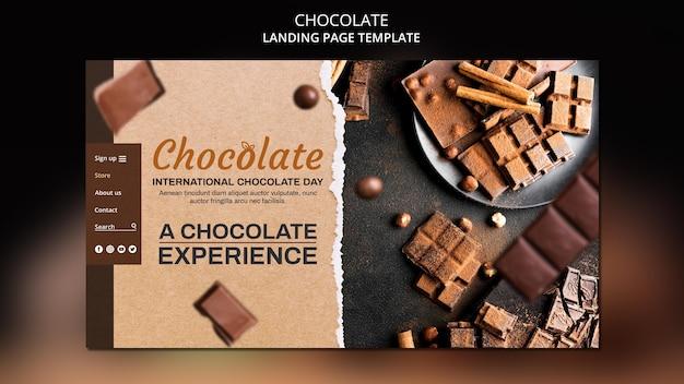 Sjabloon voor chocoladewinkel op bestemmingspagina